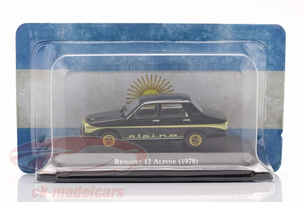 Renault 12 Alpine Año de construcción 1978 negro / oro 1:43 Altaya
