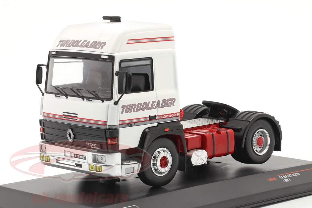 Renault R370 Turboleader Vrachtauto 1987 Wit / rood 1:43 Ixo