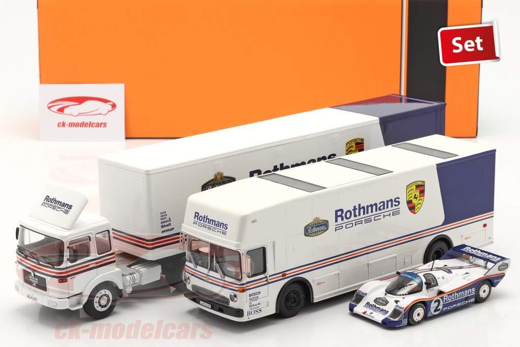 3-Car Set Rothmans: 2x Race Car Transporter with Porsche 956K 1:43 Schuco / Ixo / CMR