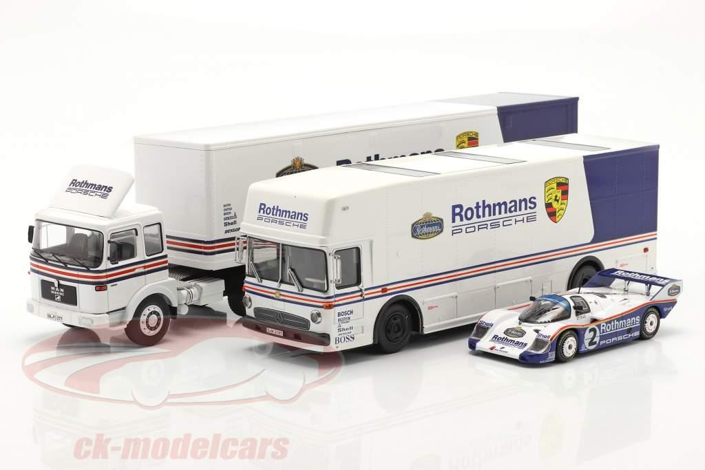 3-Car Set Rothmans: 2x Race Car Transporter avec Porsche 956K 1:43 Schuco / Ixo / CMR