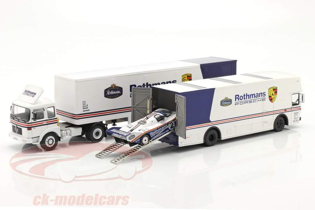 3-Car Set Rothmans: 2x Race Car Transporter と Porsche 956K 1:43 Schuco / Ixo / CMR