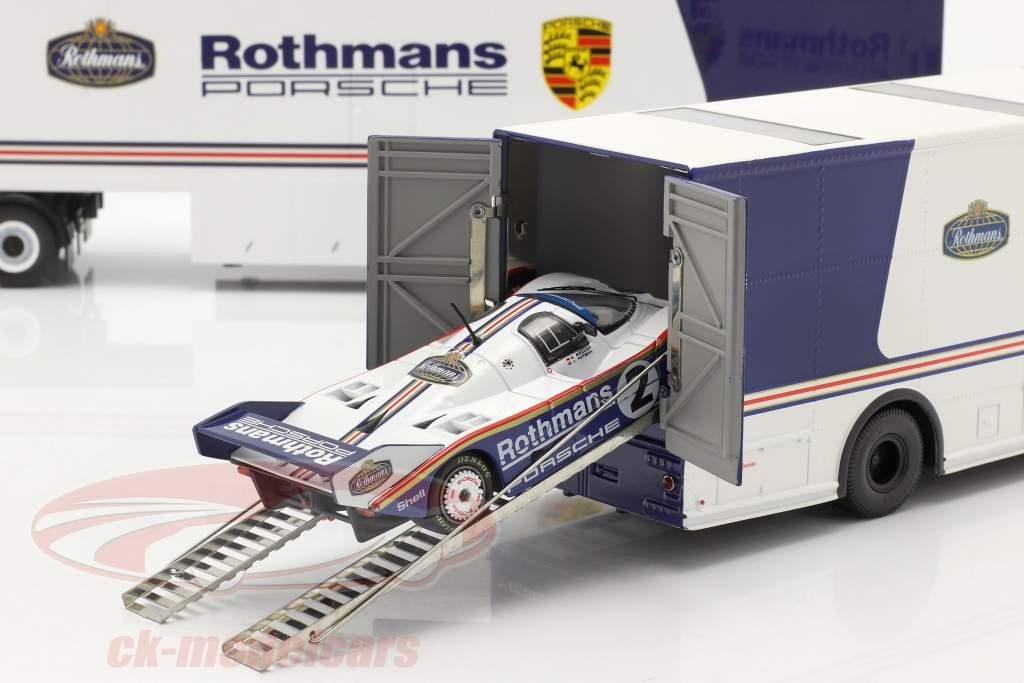 3-Car Set Rothmans: 2x Race Car Transporter Con Porsche 956K 1:43 Schuco / Ixo / CMR