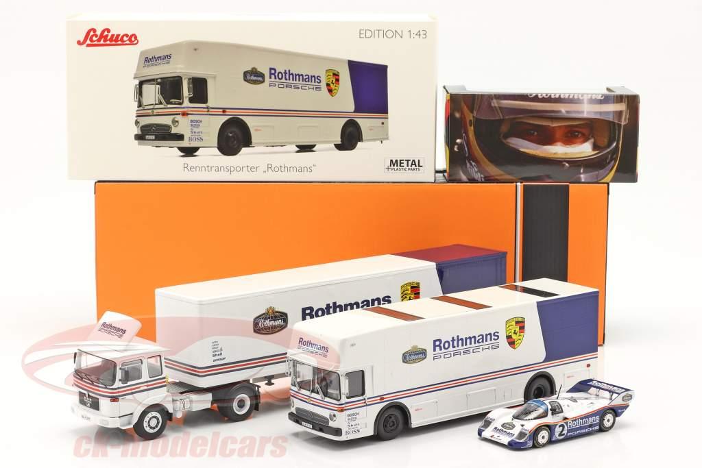 3-Car Set Rothmans: 2x Renntransporter mit Porsche 956K 1:43 Schuco / Ixo / CMR