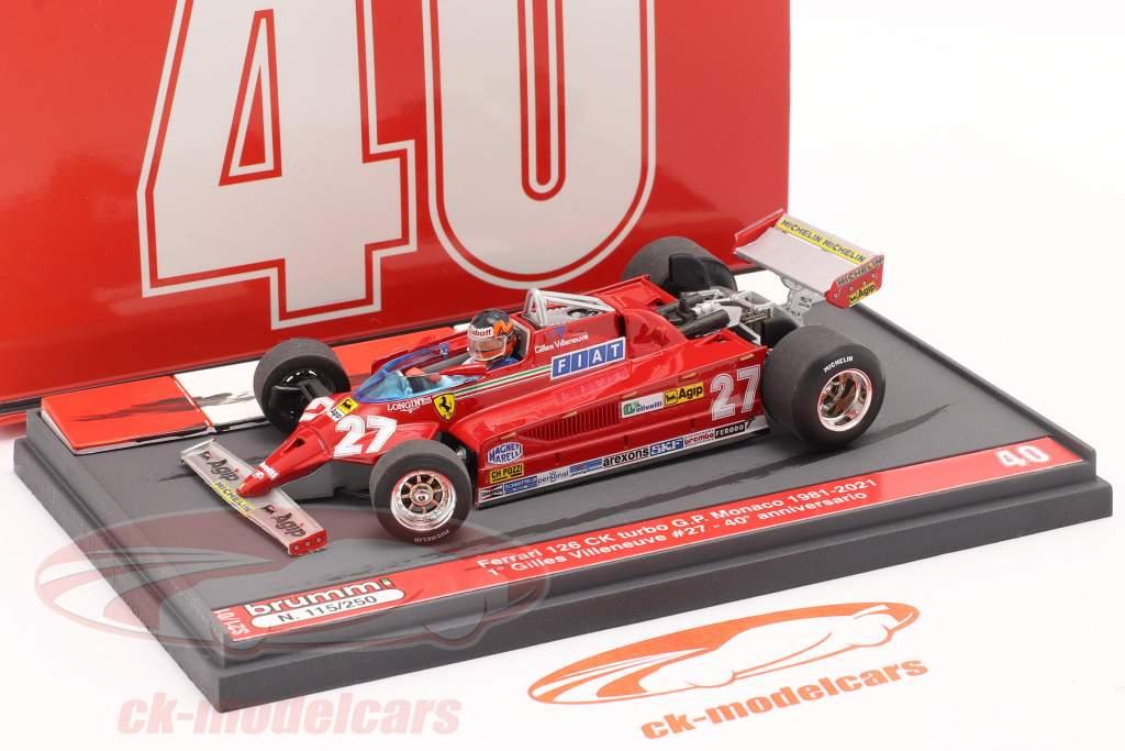 G. Villeneuve Ferrari 126CK #27 vinder Monaco GP F1 1981 40. Jubilæum 1:43 Brumm