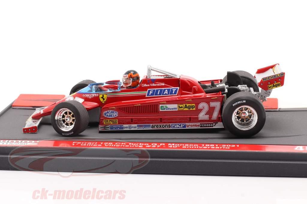 G. Villeneuve Ferrari 126CK #27 winnaar Monaco GP F1 1981 40e Verjaardag 1:43 Brumm