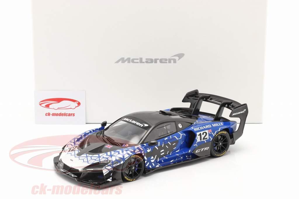 McLaren Senna GTR 2019 #12 bleu / chrome / noir Avec Vitrine 1:18 Spark