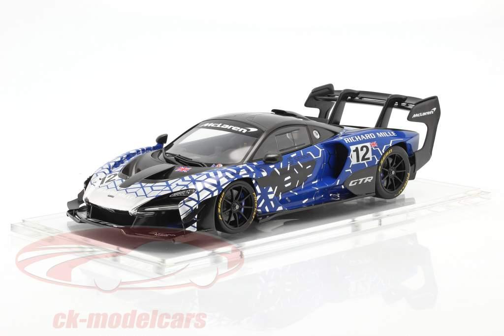 McLaren Senna GTR 2019 #12 синий / хром / чернить С участием Витрина 1:18 Spark