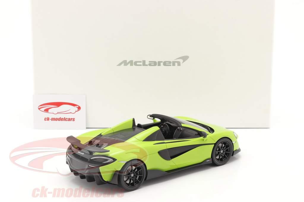 McLaren 600LT Spider Baujahr 2019 lime grün mit Vitrine 1:18 Spark