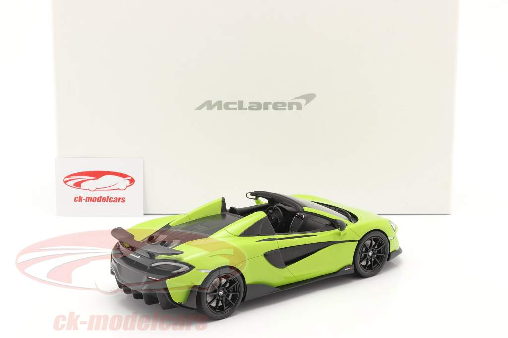 McLaren 600LT Spider year 2019 lime green with showcase 1:18 Spark