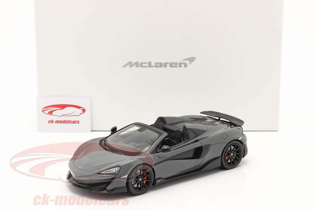 McLaren 600LT Spider Baujahr 2019 chicane grau mit Vitrine 1:18 Spark