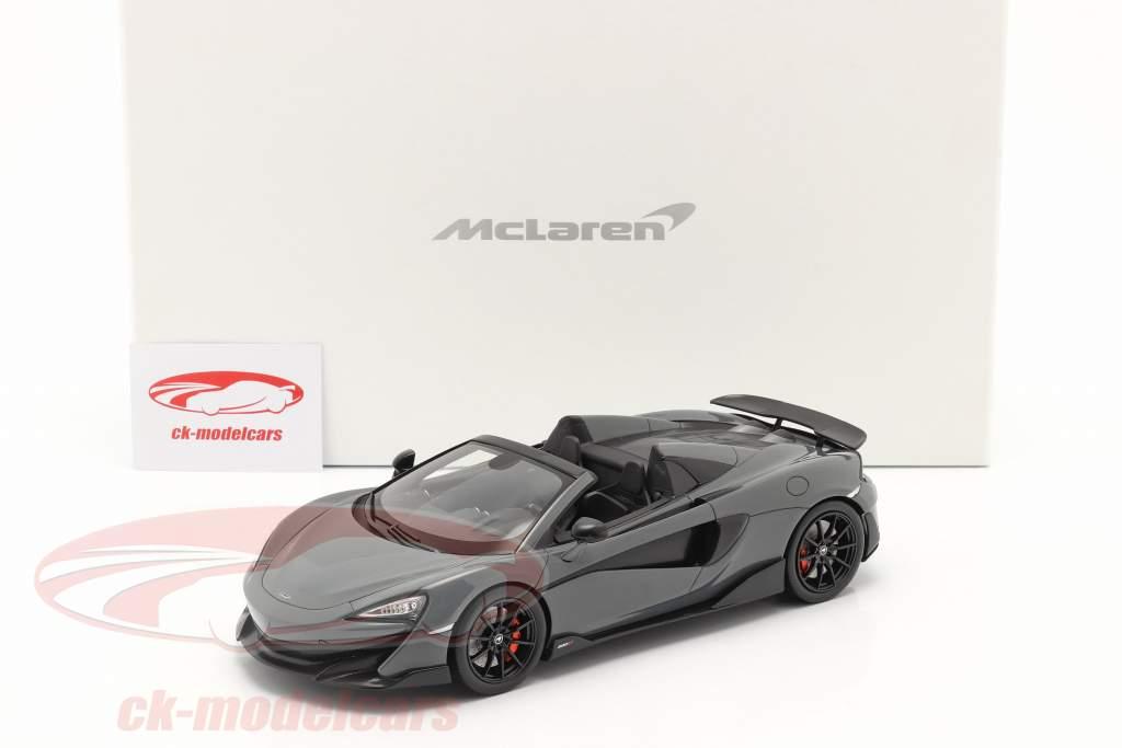 McLaren 600LT Spider year 2019 chicane grey with showcase 1:18 Spark