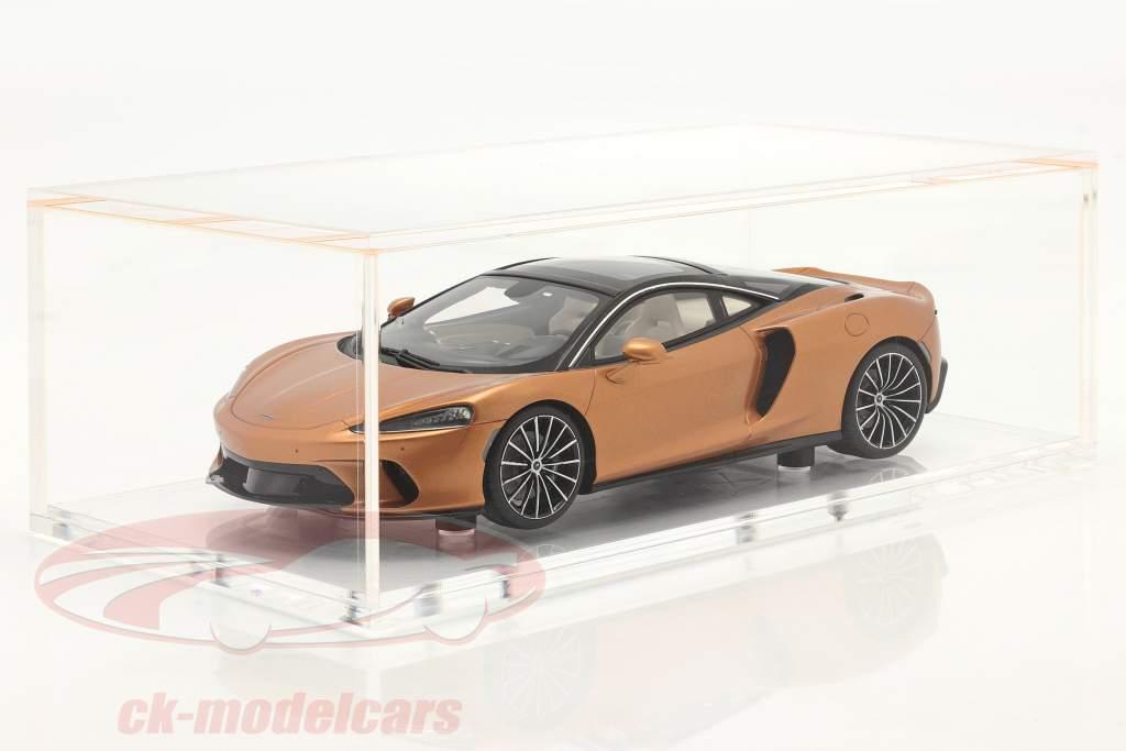 McLaren GT Baujahr 2019 kupfer metallic mit Vitrine 1:18 Spark