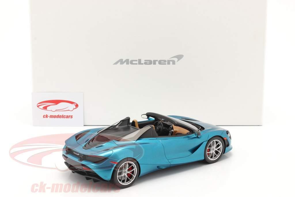 McLaren 720S Spider Baujahr 2019 belize blau mit Vitrine 1:18 Spark