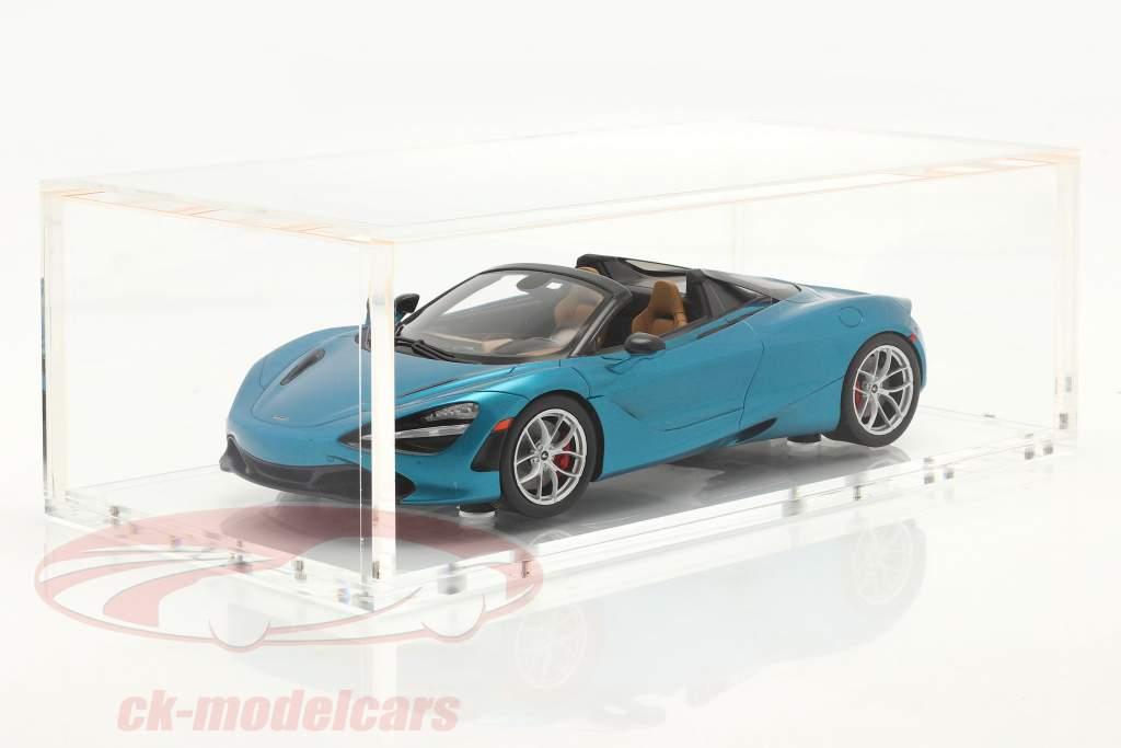 McLaren 720S Spider year 2019 belize blue with showcase 1:18 Spark