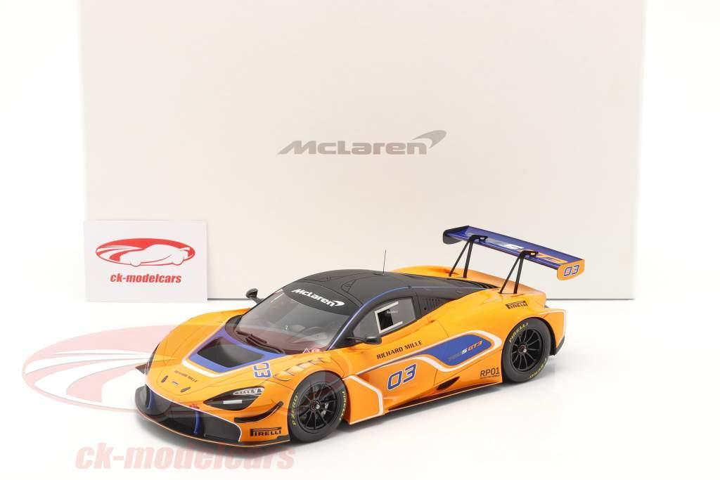 McLaren 720S GT3 2019 #03 Orange / bleu Avec Vitrine 1:18 Spark