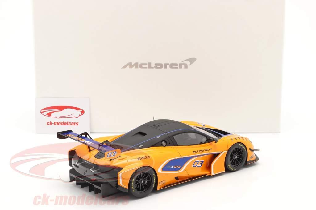 McLaren 720S GT3 2019 #03 naranja / azul Con Escaparate 1:18 Spark