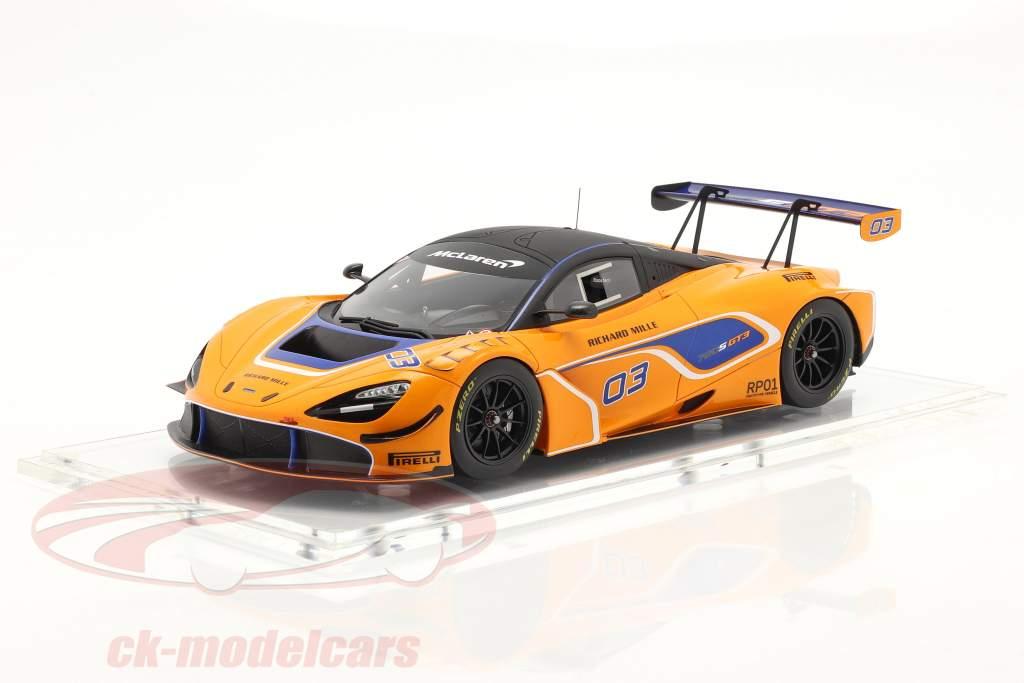 McLaren 720S GT3 2019 #03 orange / blå Med Udstillingsvindue 1:18 Spark