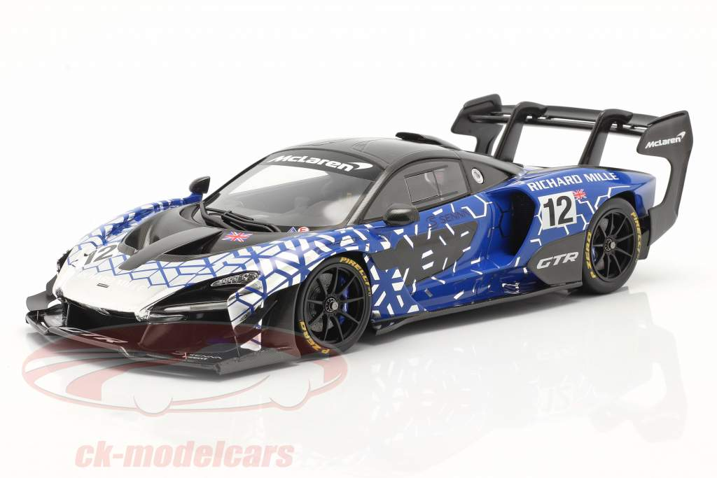 McLaren Senna GTR 2019 #12 blå / krom / sort Med Udstillingsvindue 1:18 Spark