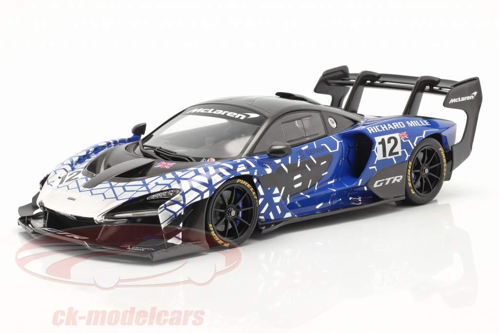 McLaren Senna GTR 2019 #12 blu / cromo / nero Con vetrina 1:18 Spark