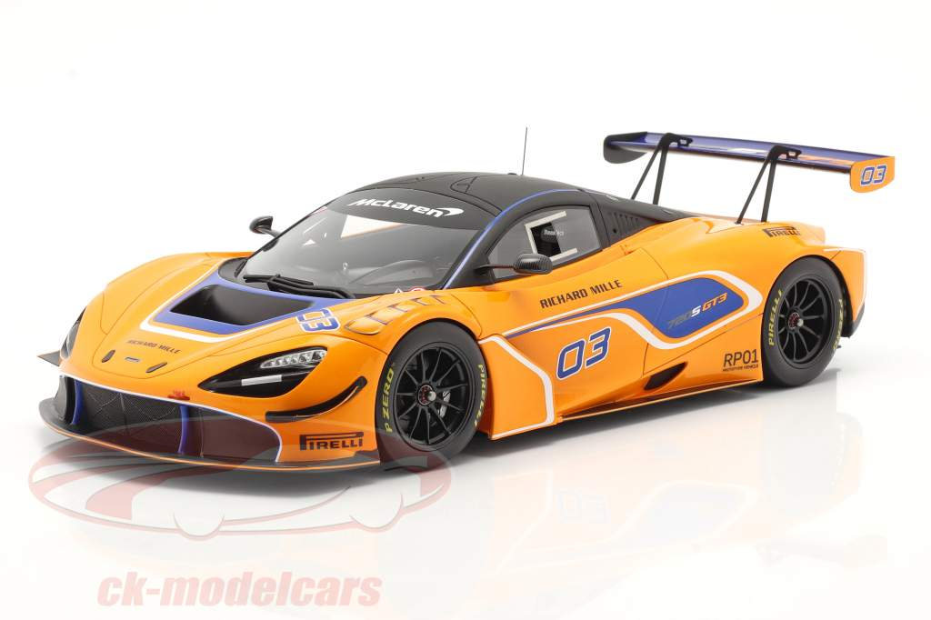 McLaren 720S GT3 2019 #03 橙子 / 蓝色的 和 展示柜 1:18 Spark