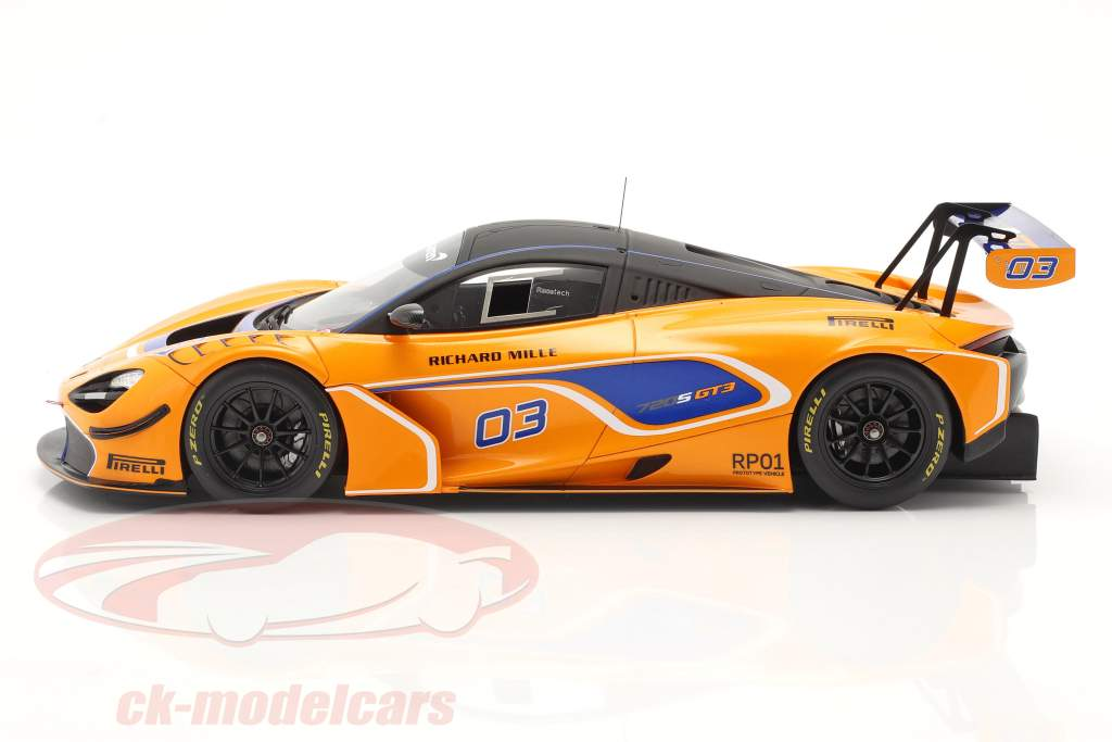 McLaren 720S GT3 2019 #03 orange / blau mit Vitrine 1:18 Spark