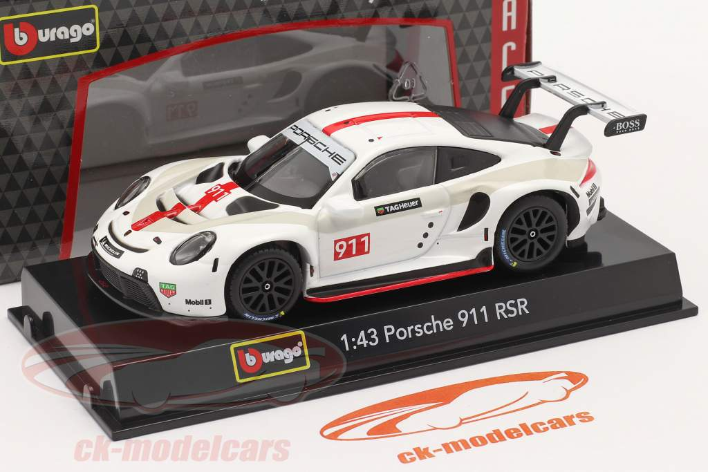 Porsche 911 RSR GT #911 hvid / rød 1:43 Bburago