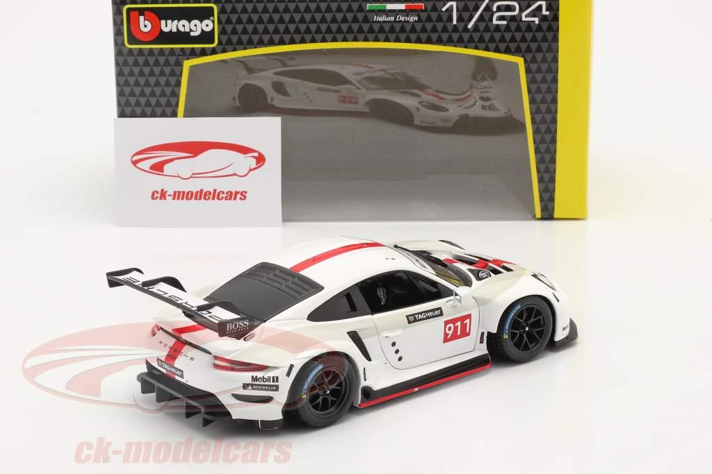 Porsche 911 RSR GT #911 Wit / rood 1:24 Bburago