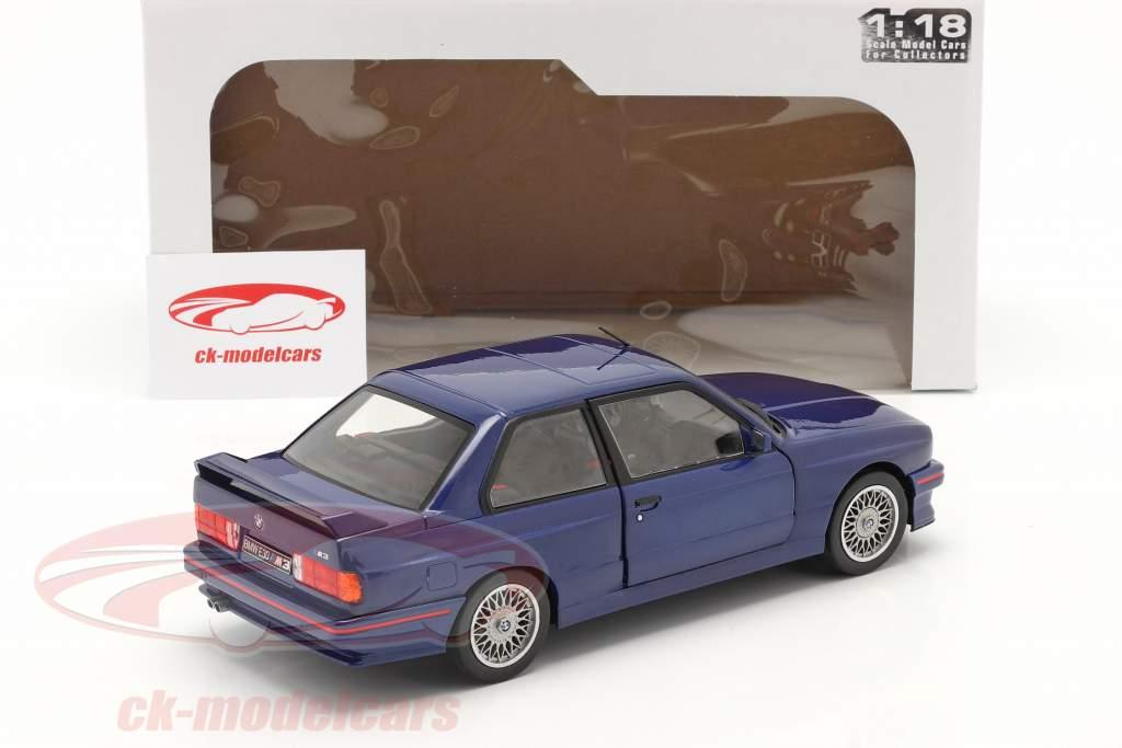 BMW M3 (E30) Coupe Bouwjaar 1990 Mauritius blauw 1:18 Solido