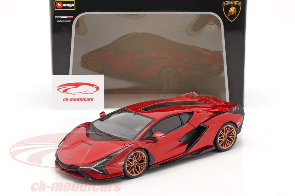 Lamborghini Sian FKP 37 建设年份 2019 红色的 / 黑色的 1:18 Bburago