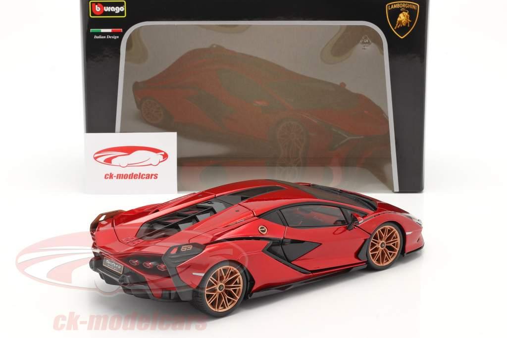 Lamborghini Sian FKP 37 Bouwjaar 2019 rood / zwart 1:18 Bburago