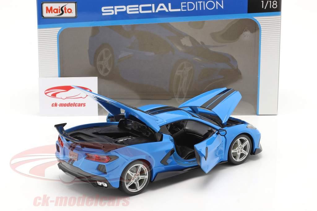 Chevrolet Corvette Stingray Coupe Bouwjaar 2020 blauw / zwart 1:18 Maisto