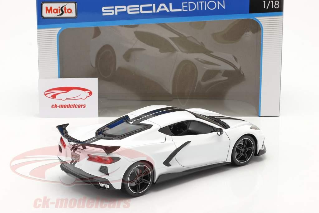 Chevrolet Corvette Stingray Coupe Byggeår 2020 hvid 1:18 Maisto