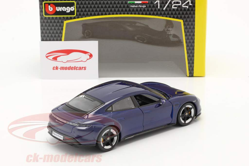 Porsche Taycan Turbo S bleu foncé 1:24 Bburago