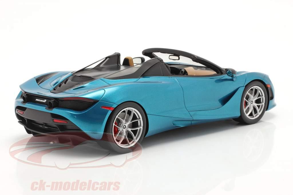 McLaren 720S Spider Byggeår 2019 belize blå Med Udstillingsvindue 1:18 Spark