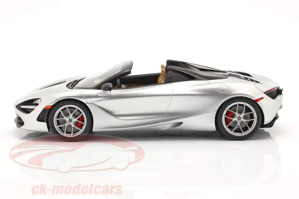 McLaren 720S Spider Año de construcción 2019 supernova plata Con Escaparate 1:18 Spark