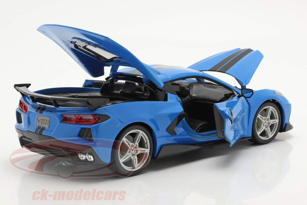 Chevrolet Corvette Stingray Coupe Byggeår 2020 blå / sort 1:18 Maisto