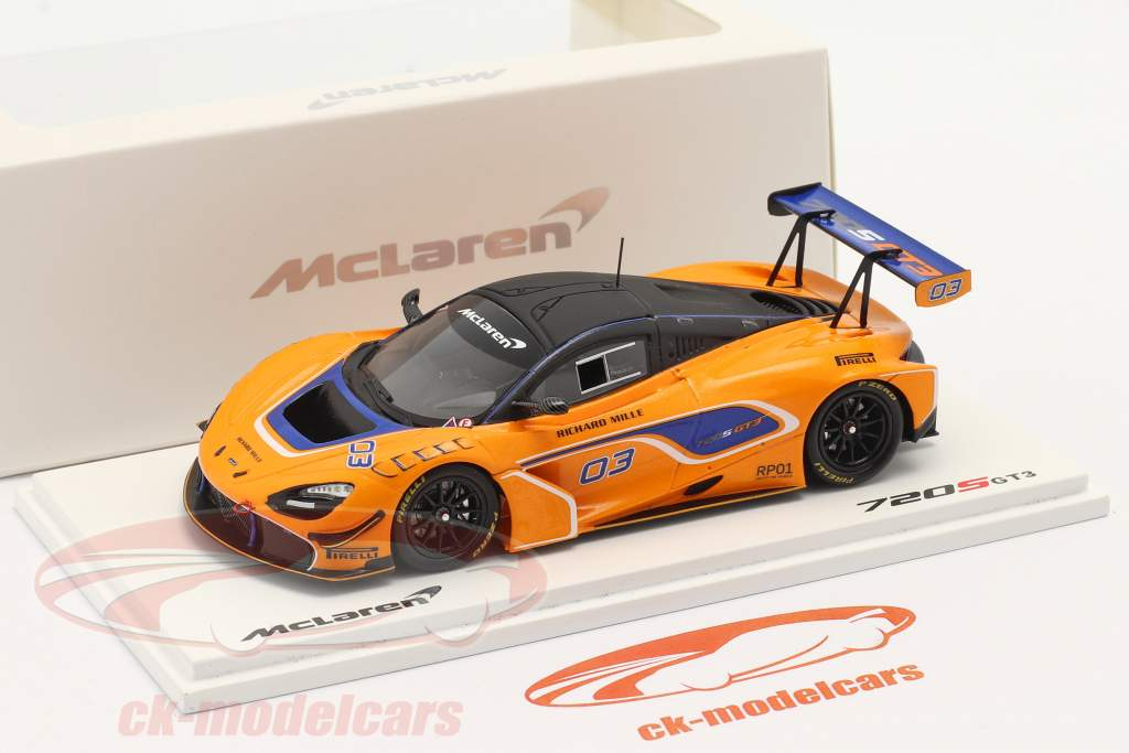 McLaren 720S GT3 2019 #03 orange / blue 1:43 Spark
