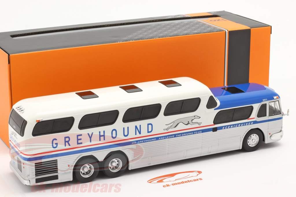 GMC Greyhound Scenicruiser Año de construcción 1956 plata / blanco / azul 1:43 Ixo