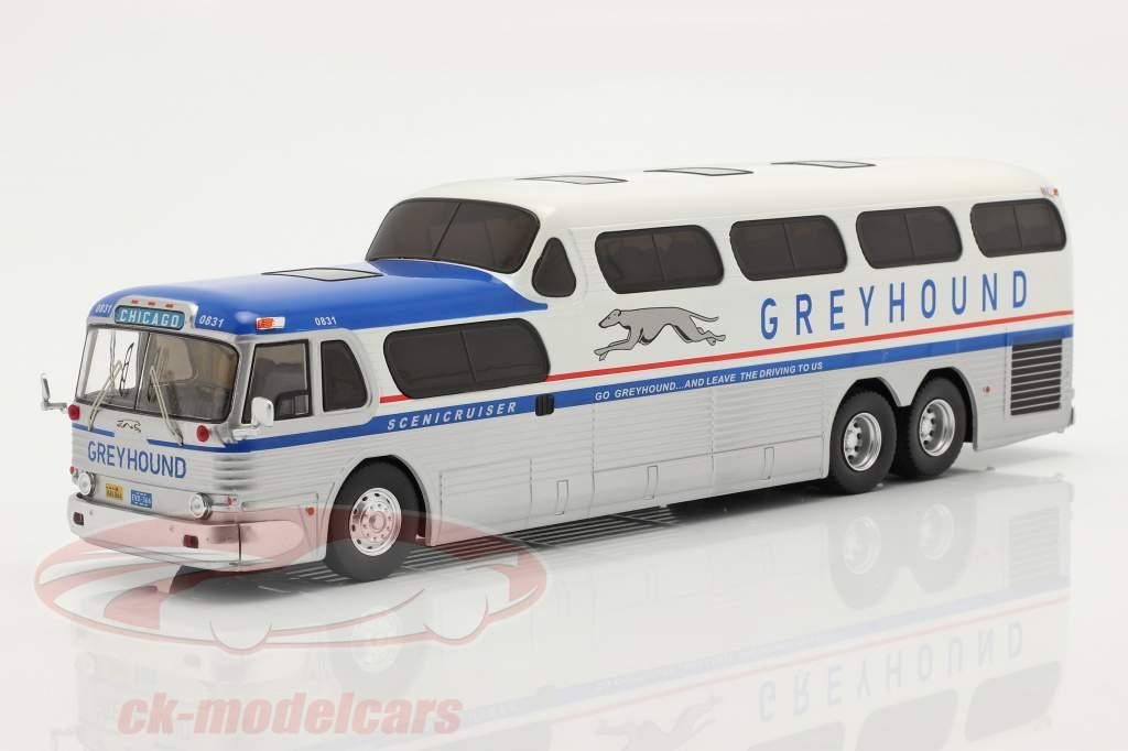 GMC Greyhound Scenicruiser Année de construction 1956 argent / blanc / bleu 1:43 Ixo
