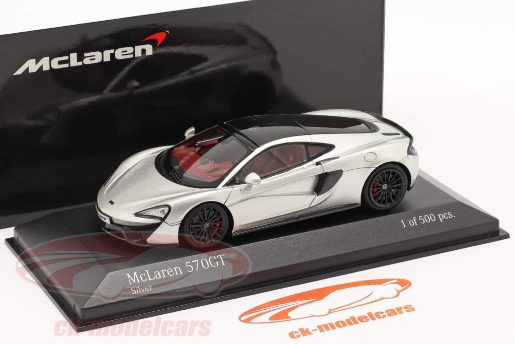 McLaren 570GT Bouwjaar 2017 zilver metalen 1:43 Minichamps