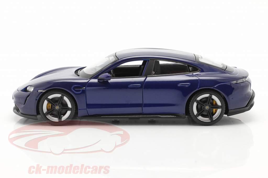 Porsche Taycan Turbo S donkerblauw 1:24 Bburago