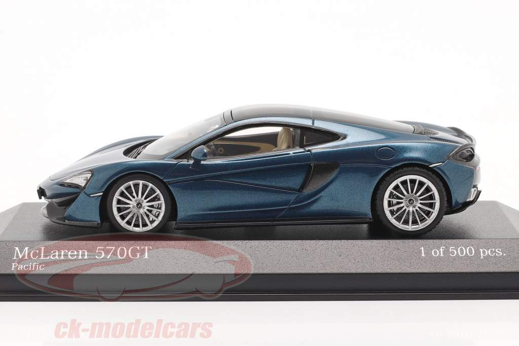 McLaren 570GT Année de construction 2017 pacific bleu métallique 1:43 Minichamps