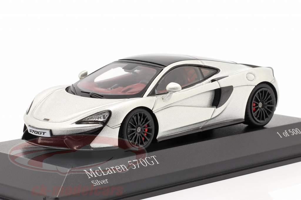 McLaren 570GT Année de construction 2017 argent métallique 1:43 Minichamps