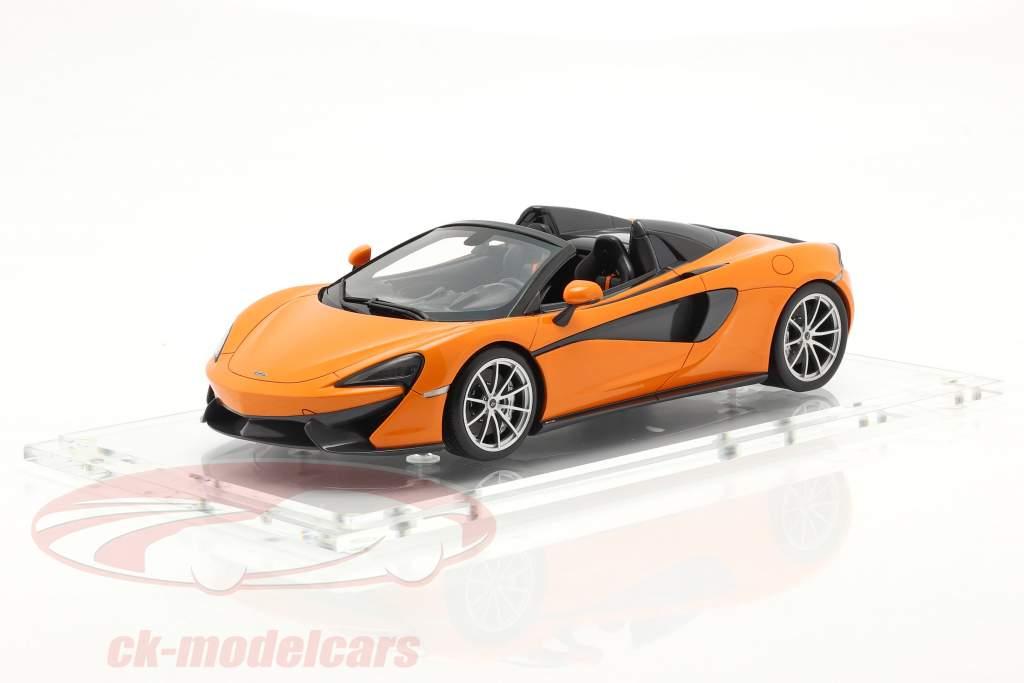 McLaren 570S Spider Année de construction 2017 ventura Orange Avec Vitrine 1:18 Spark