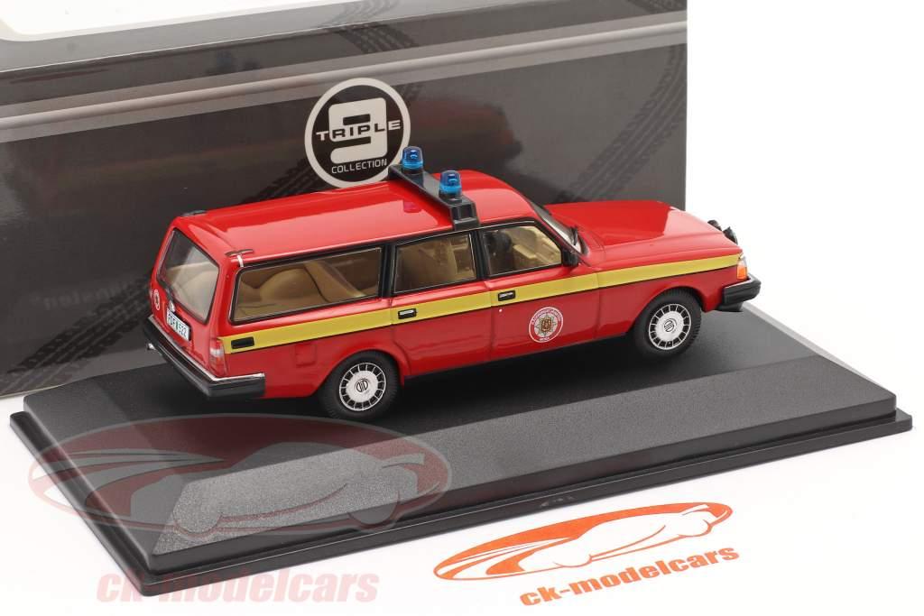 Volvo 240 corpo de Bombeiros Mora (Suécia) 1983 vermelho / amarelo 1:43 Triple9