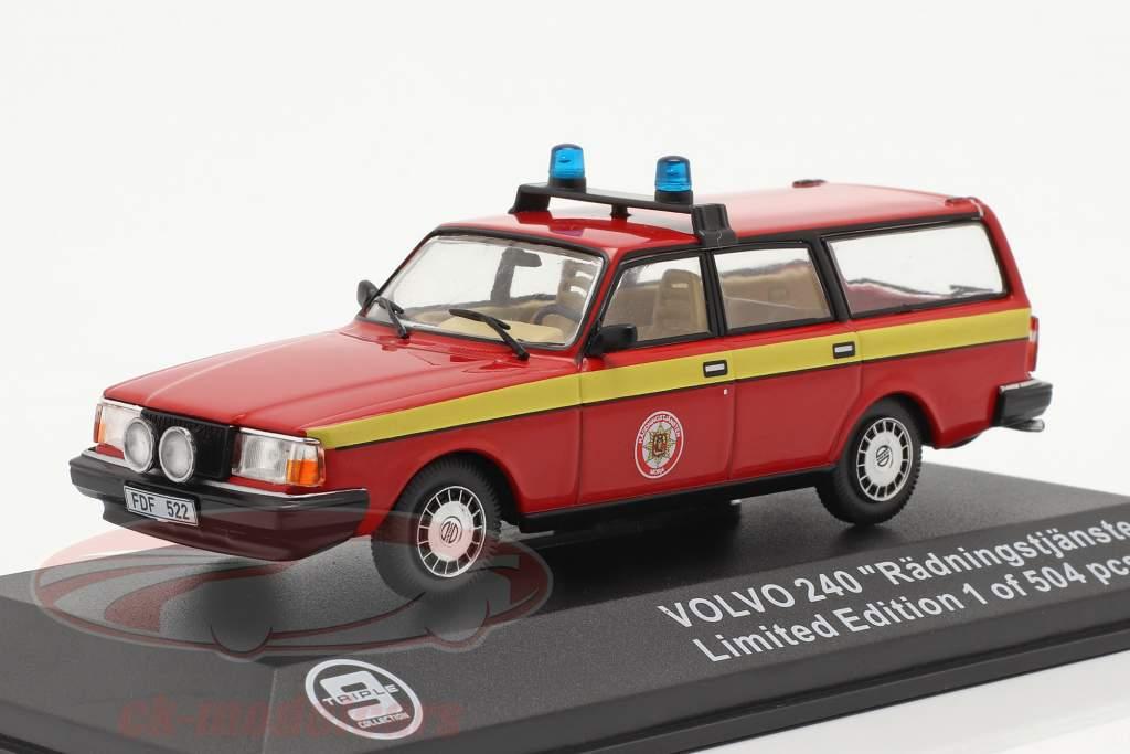 Volvo 240 Brandweer Mora (Zweden) 1983 rood / geel 1:43 Triple9