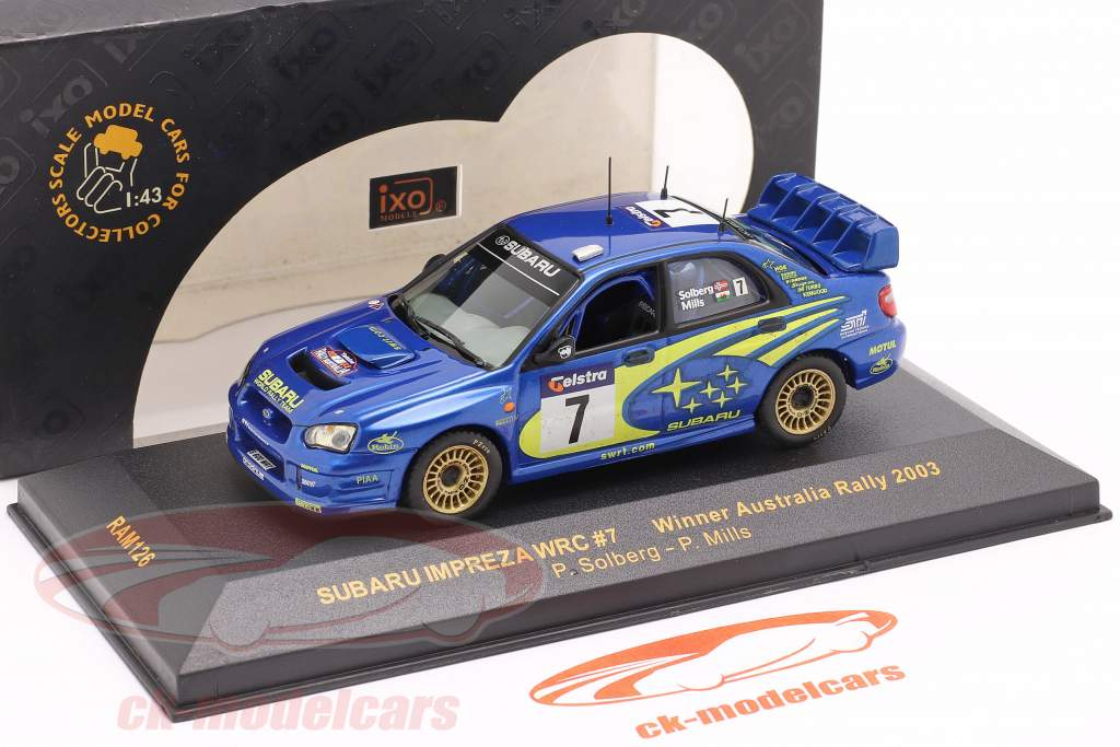 Subaru Impreza WRC #7 ganador Australia reunión 2003 Solberg, Mills 1:43 Ixo