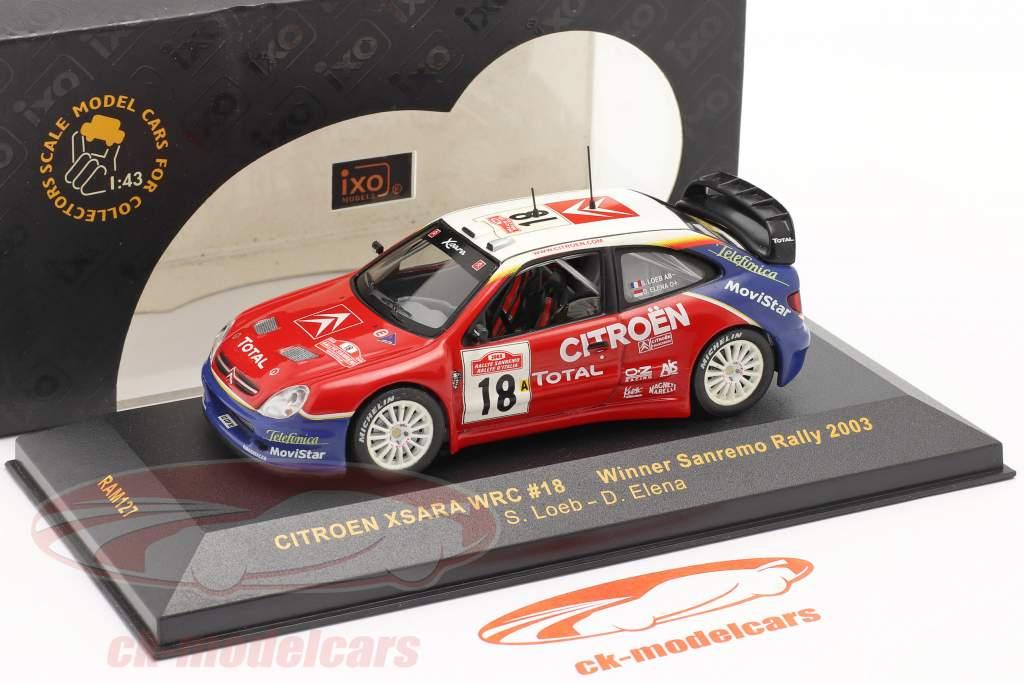 Citroen Xsara WRC #18 vencedora Sanremo corrida 2003 Loeb, Elena 1:43 Ixo
