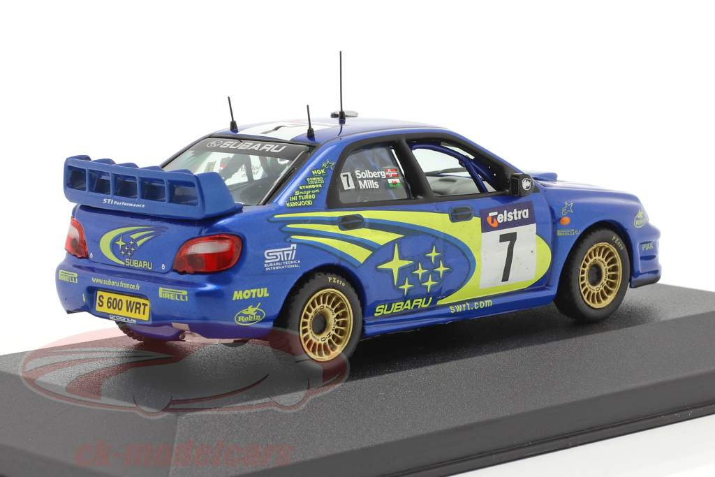 Subaru Impreza WRC #7 winnaar Australië rally 2003 Solberg, Mills 1:43 Ixo