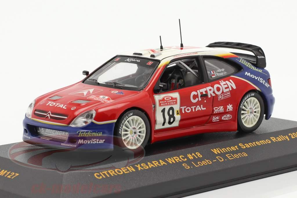 Citroen Xsara WRC #18 winner Sanremo rally 2003 Loeb, Elena 1:43 Ixo